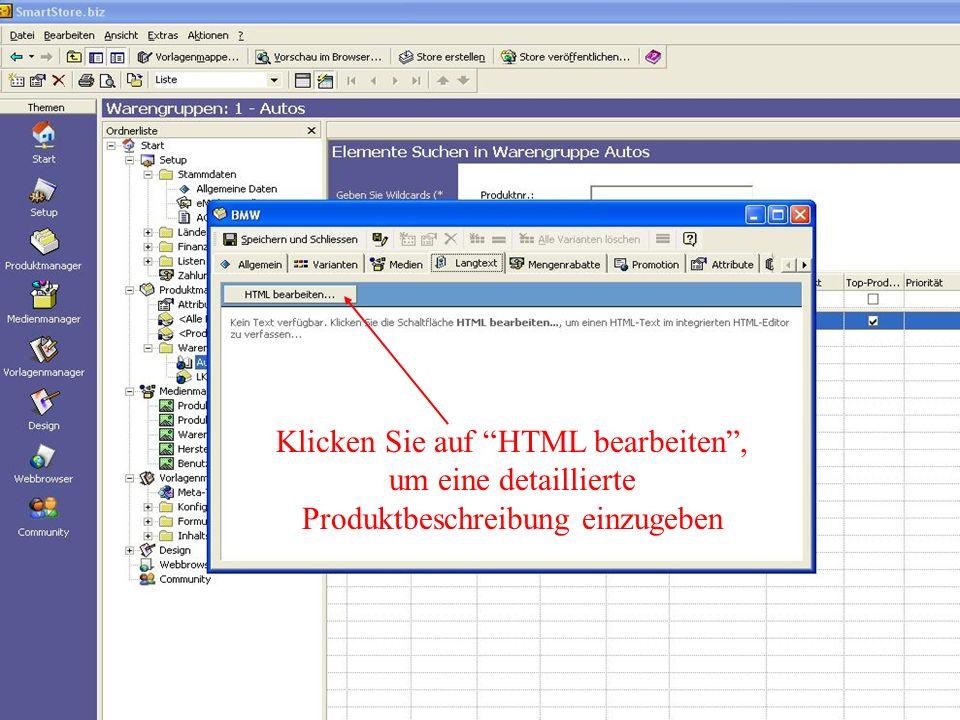 Klicken Sie auf HTML bearbeiten , um eine detaillierte Produktbeschreibung einzugeben