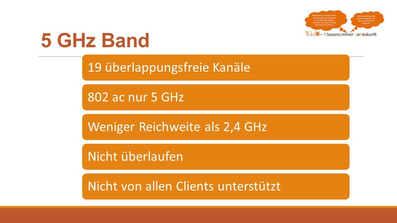 5 GHz Band 19 überlappungsfreie Kanäle 802 ac nur 5 GHz