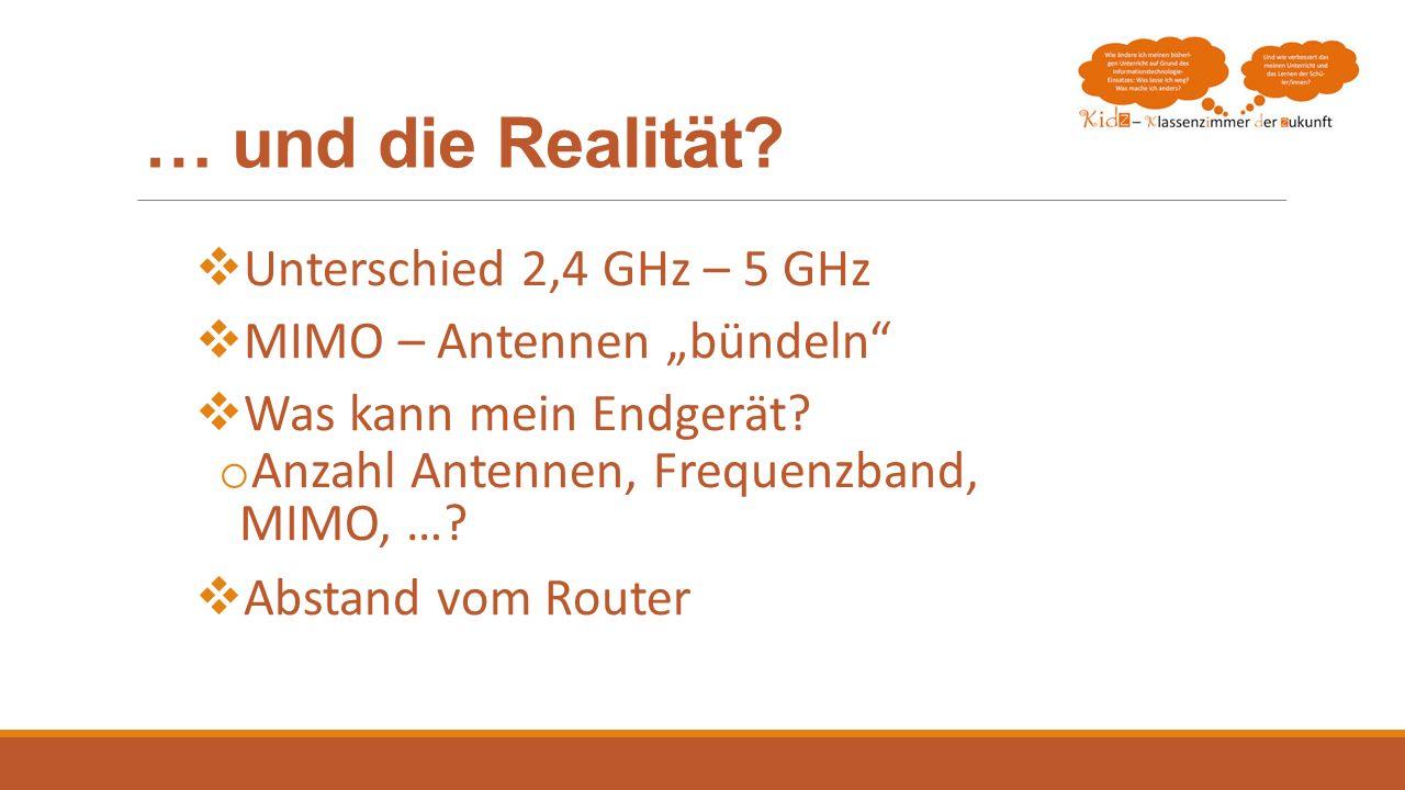 … und die Realität Unterschied 2,4 GHz – 5 GHz
