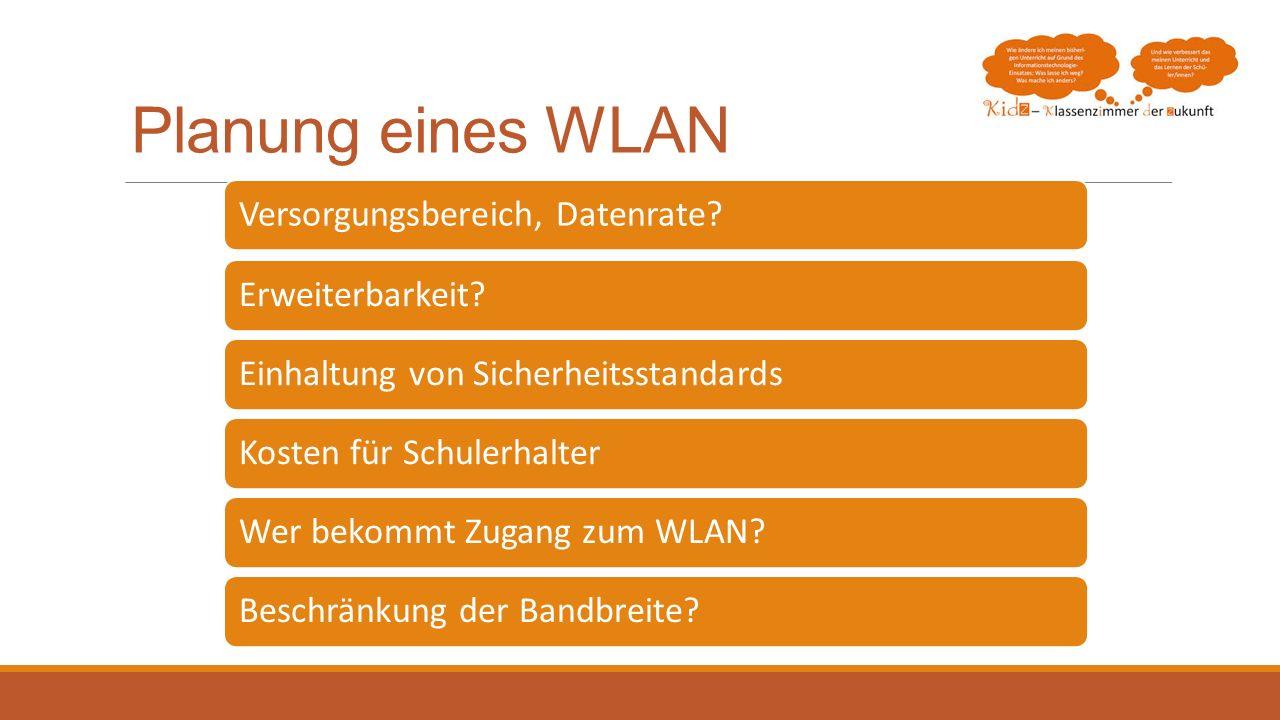 Planung eines WLAN Versorgungsbereich, Datenrate Erweiterbarkeit