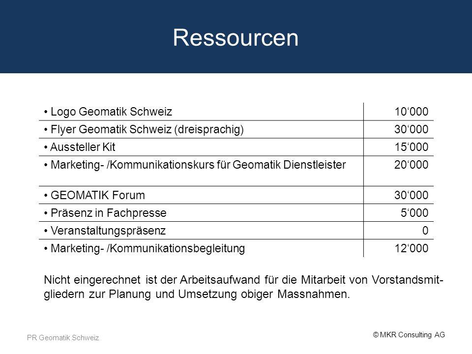 Ressourcen Logo Geomatik Schweiz. 10'000. Flyer Geomatik Schweiz (dreisprachig) 30'000. Aussteller Kit.