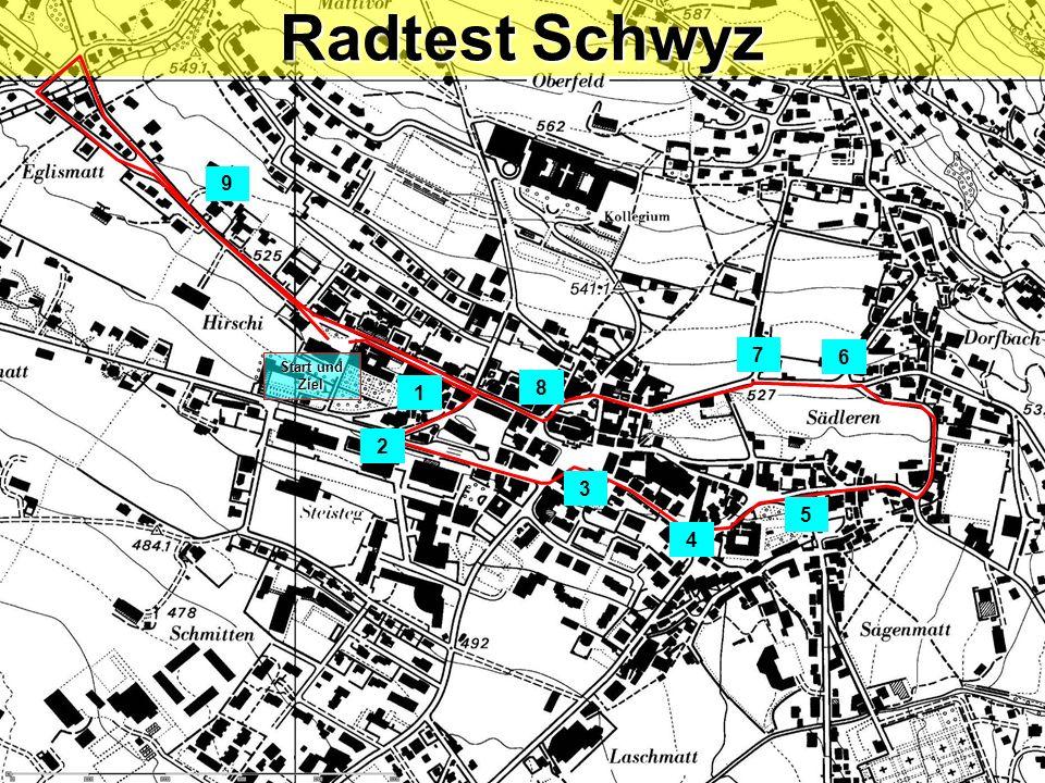 Radtest Schwyz 9 7 6 Start und Ziel 1 8 2 3 5 4