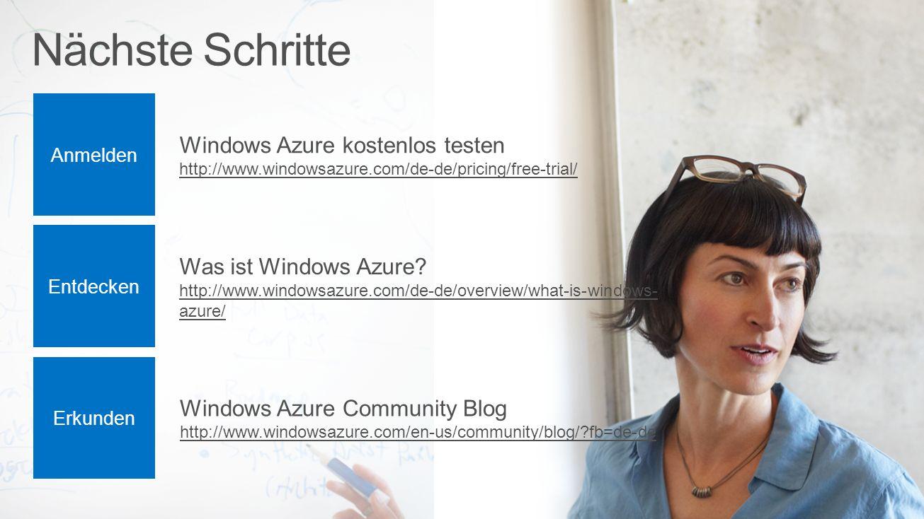 Nächste Schritte Windows Azure kostenlos testen