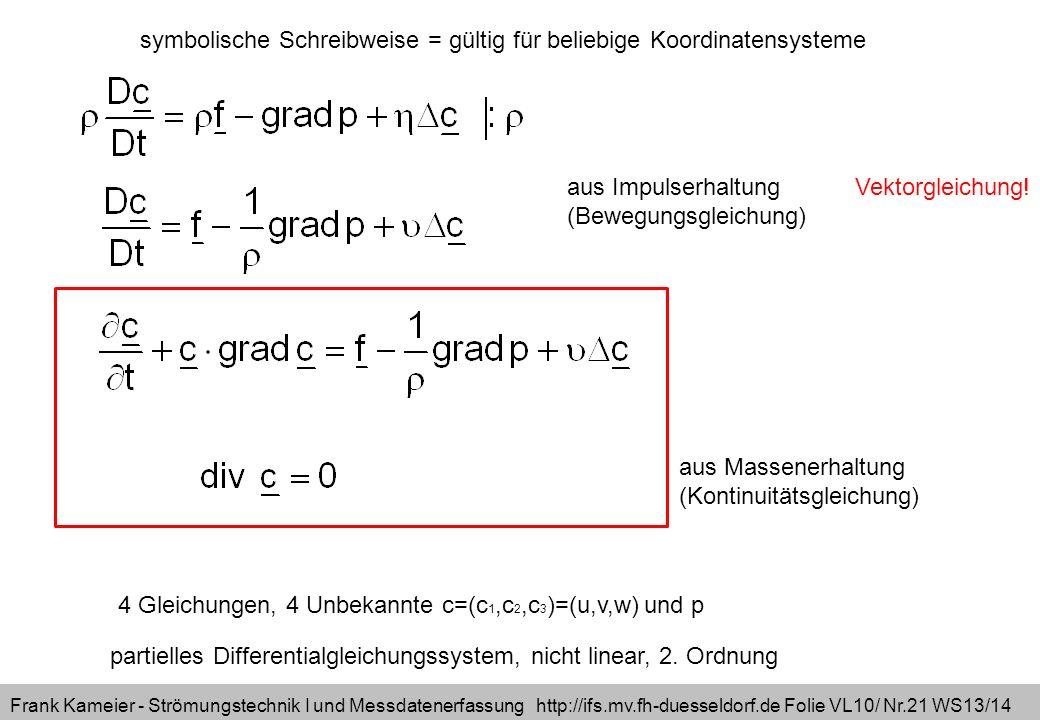symbolische Schreibweise = gültig für beliebige Koordinatensysteme