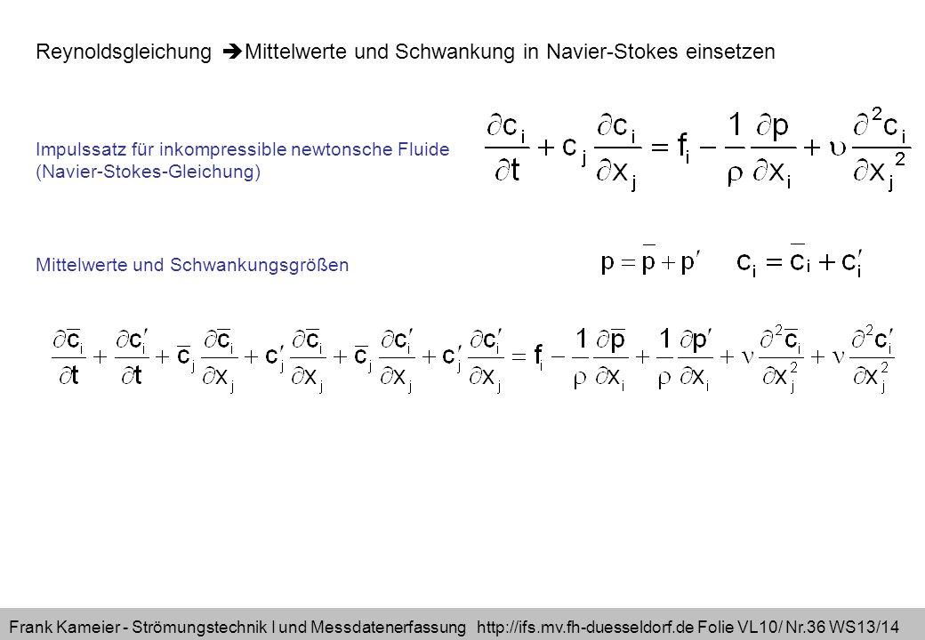 Reynoldsgleichung Mittelwerte und Schwankung in Navier-Stokes einsetzen