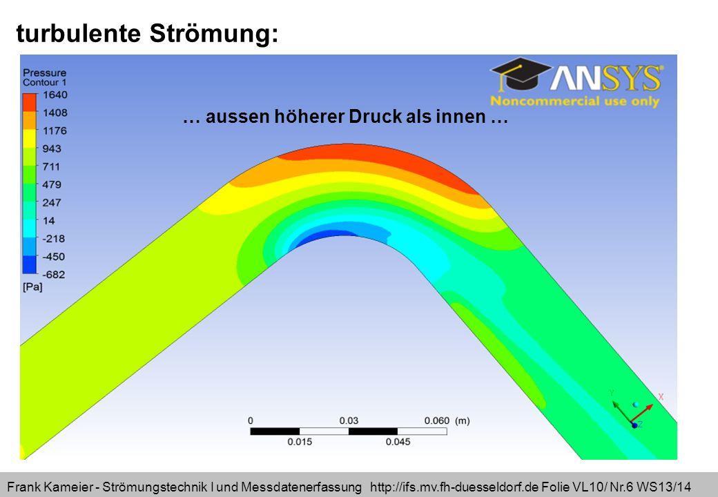 turbulente Strömung: … aussen höherer Druck als innen …