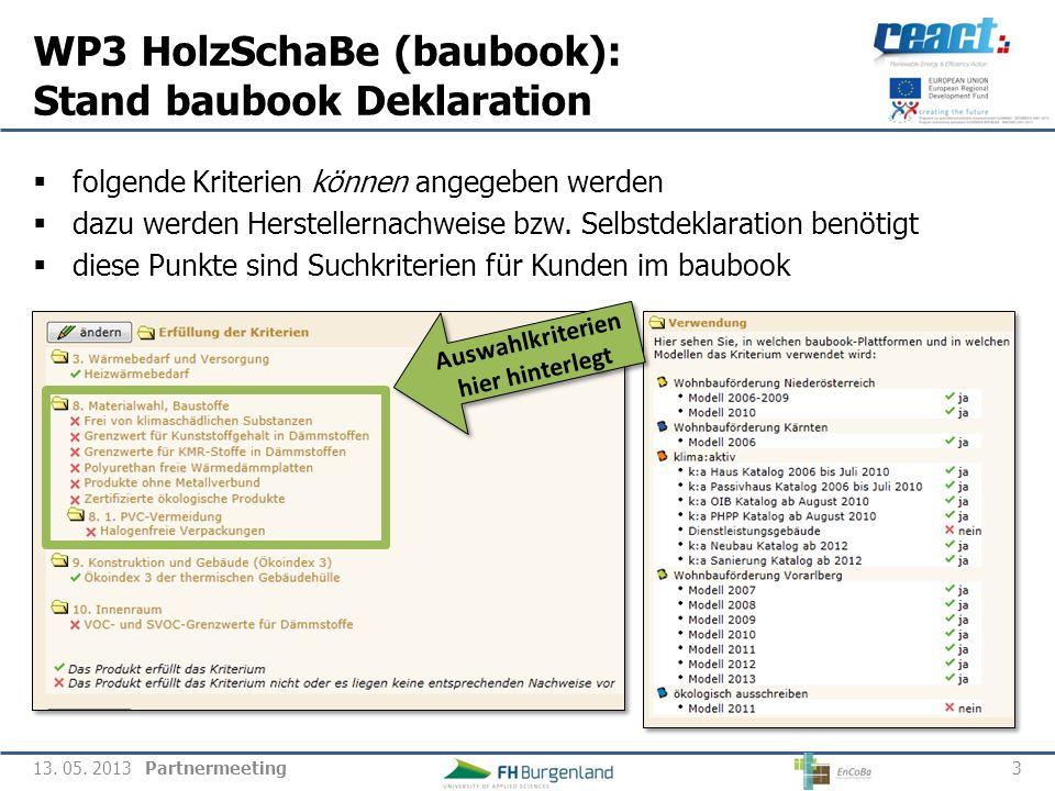WP3 HolzSchaBe (baubook): Stand baubook Deklaration