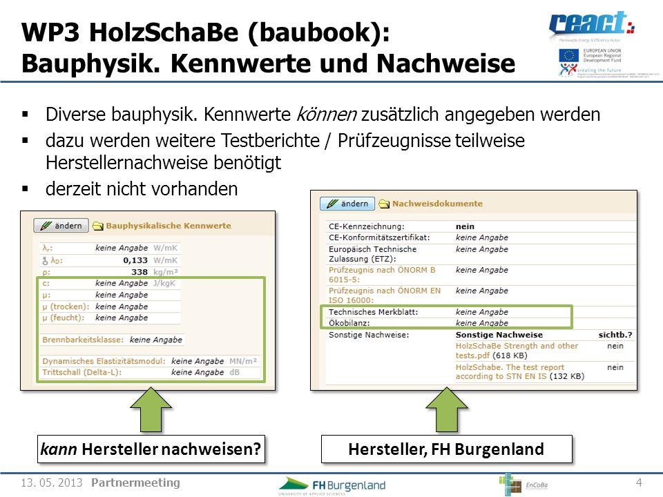 WP3 HolzSchaBe (baubook): Bauphysik. Kennwerte und Nachweise