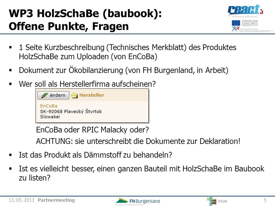 WP3 HolzSchaBe (baubook): Offene Punkte, Fragen