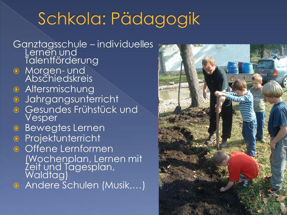 Schkola: Pädagogik Ganztagsschule – individuelles Lernen und Talentförderung. Morgen- und Abschiedskreis.