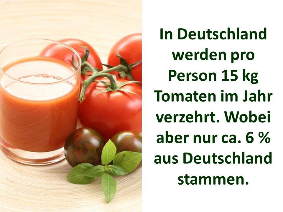 In Deutschland werden pro Person 15 kg Tomaten im Jahr verzehrt