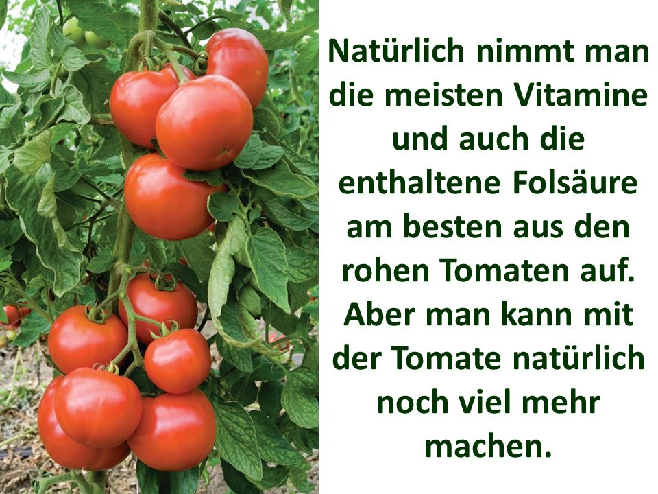Natürlich nimmt man die meisten Vitamine und auch die enthaltene Folsäure am besten aus den rohen Tomaten auf.