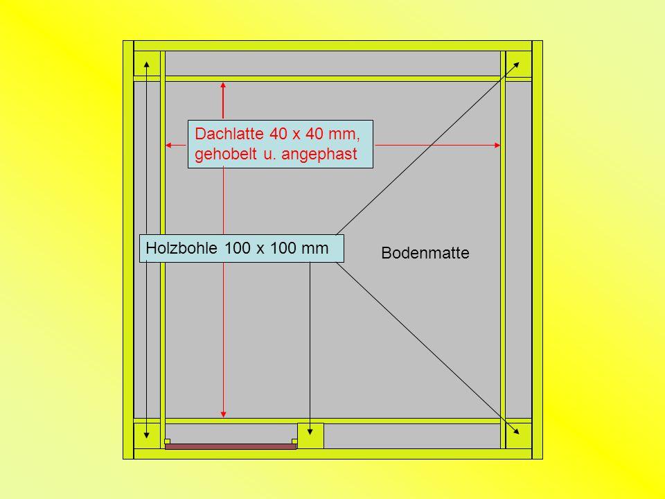 Bodenmatte Holzbohle 100 x 100 mm Dachlatte 40 x 40 mm, gehobelt u. angephast
