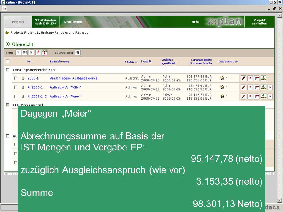 """Dagegen """"Meier Abrechnungssumme auf Basis der. IST-Mengen und Vergabe-EP: 95.147,78 (netto) zuzüglich Ausgleichsanspruch (wie vor)"""