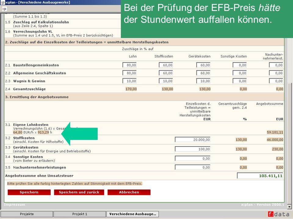 Bei der Prüfung der EFB-Preis hätte der Stundenwert auffallen können.