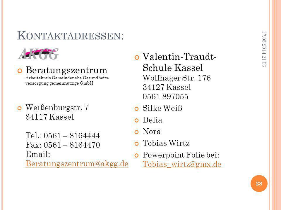 Kontaktadressen: 31.03.2017 01:07. Beratungszentrum Arbeitskreis Gemeindenahe Gesundheits- versorgung gemeinnützige GmbH.