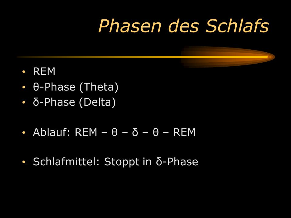 Phasen des Schlafs REM θ-Phase (Theta) δ-Phase (Delta)