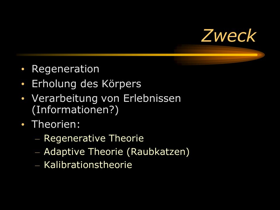 Zweck Regeneration Erholung des Körpers