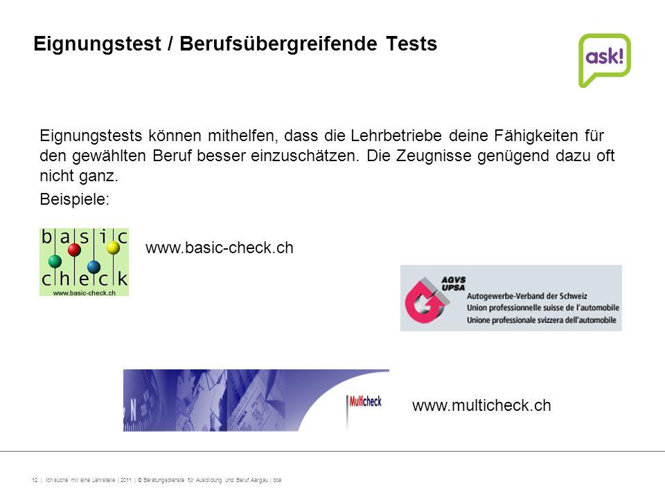 Eignungstest / Berufsübergreifende Tests