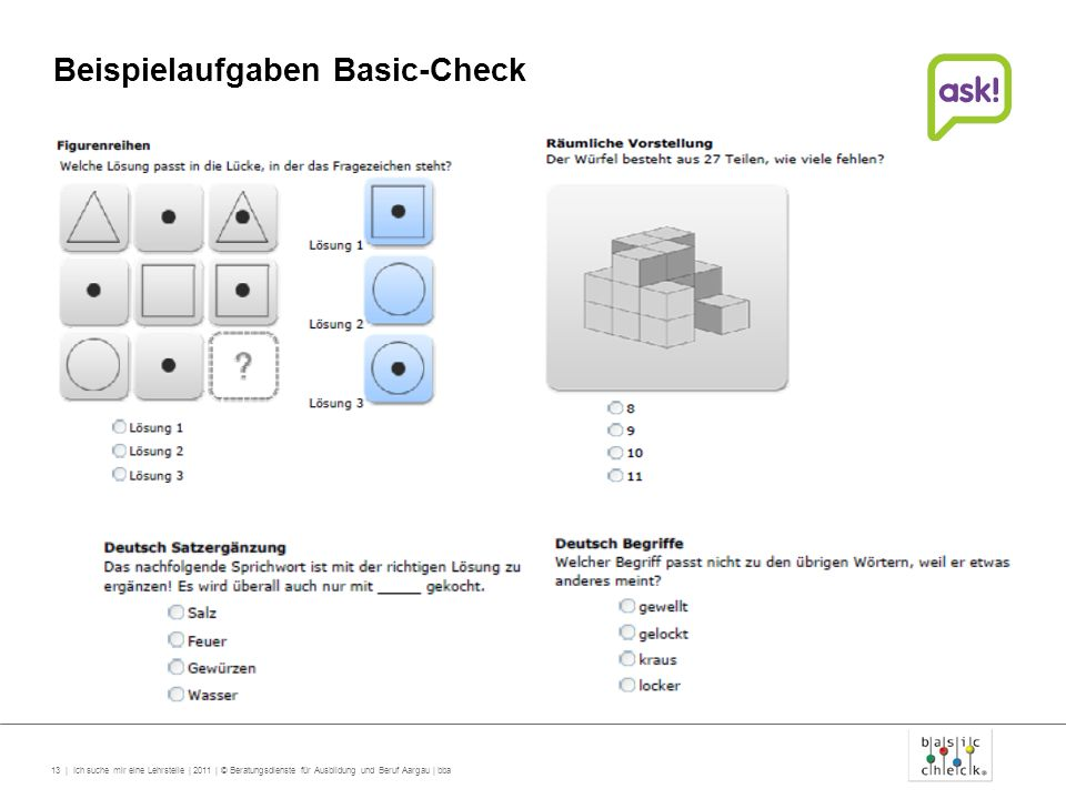 Beispielaufgaben Basic-Check