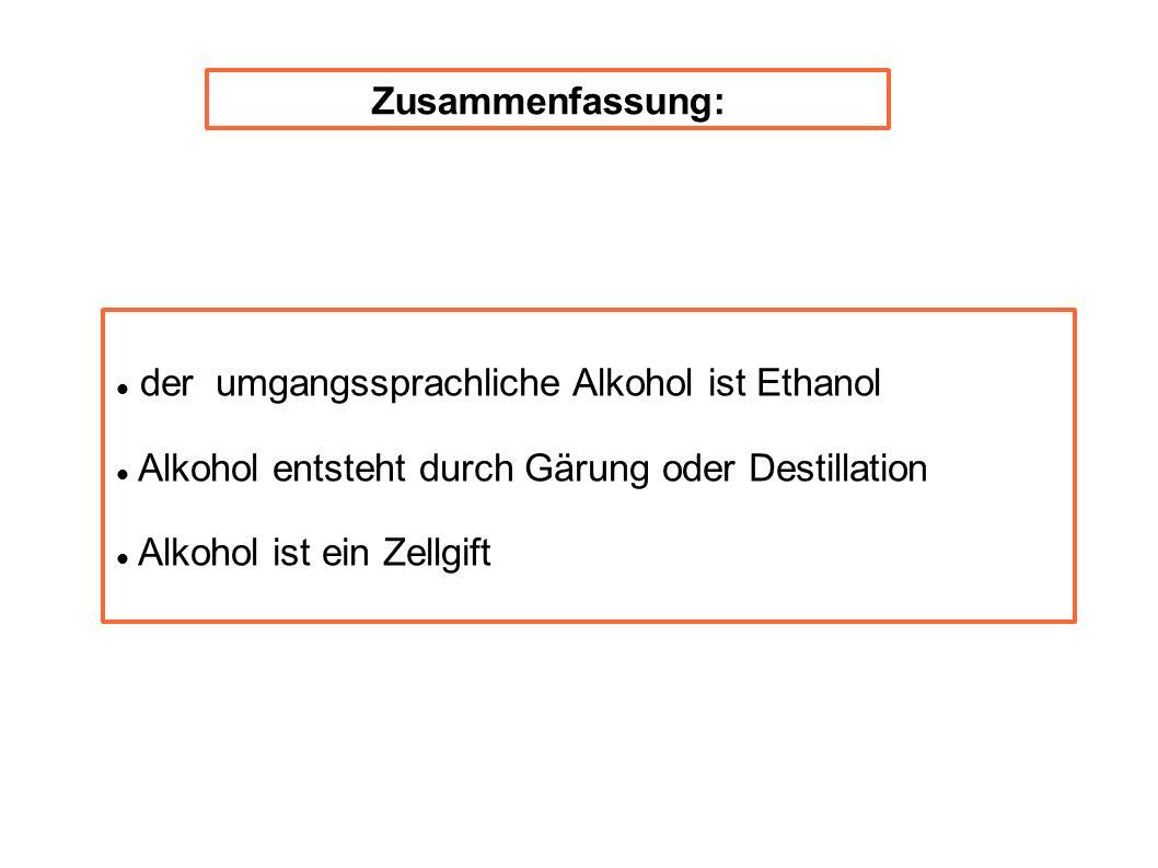 Zusammenfassung: der umgangssprachliche Alkohol ist Ethanol. Alkohol entsteht durch Gärung oder Destillation.