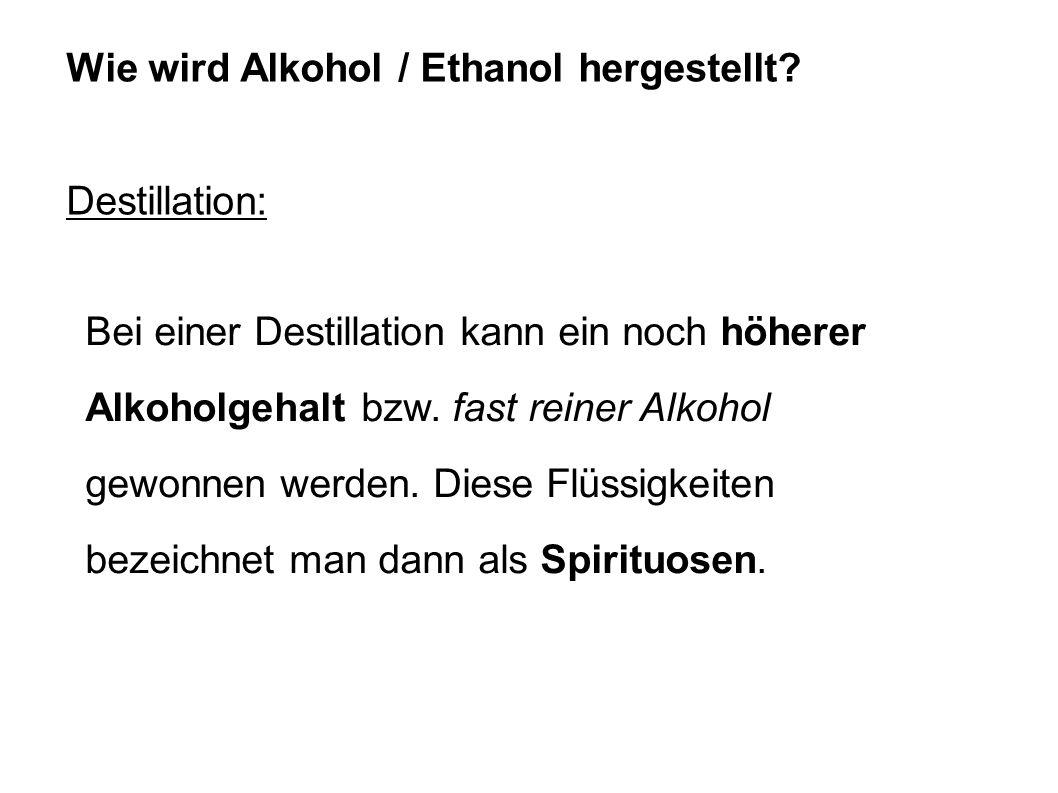 Wie wird Alkohol / Ethanol hergestellt