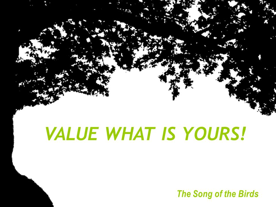 VALUE WHAT IS YOURS! © The Song of the Birds