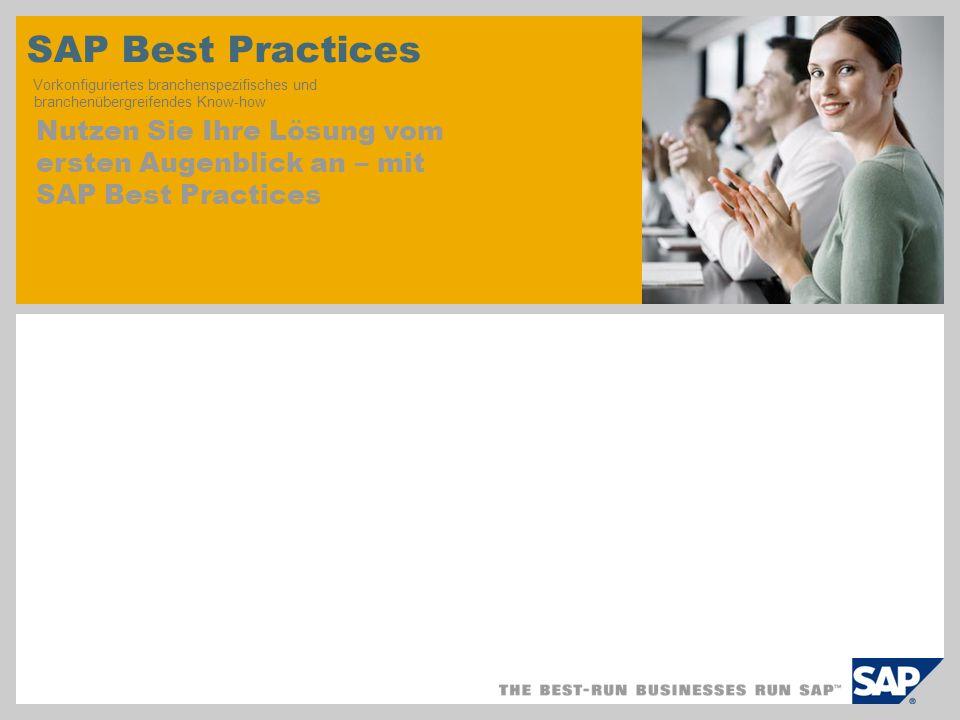 SAP TechEd '04 SAP Best Practices Vorkonfiguriertes branchenspezifisches und branchenübergreifendes Know-how.
