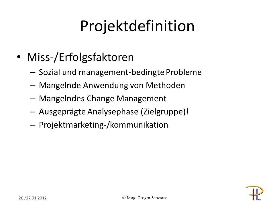 Projektdefinition Miss-/Erfolgsfaktoren