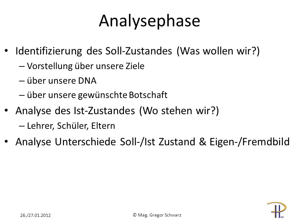 Analysephase Identifizierung des Soll-Zustandes (Was wollen wir )