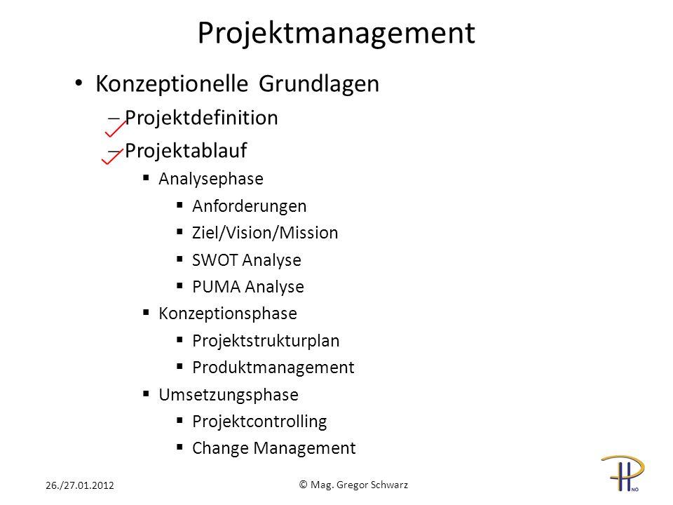 Projektmanagement Konzeptionelle Grundlagen Projektdefinition