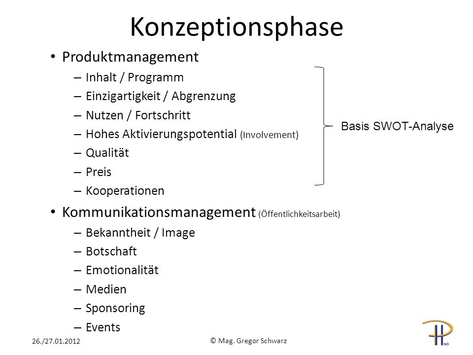Konzeptionsphase Produktmanagement