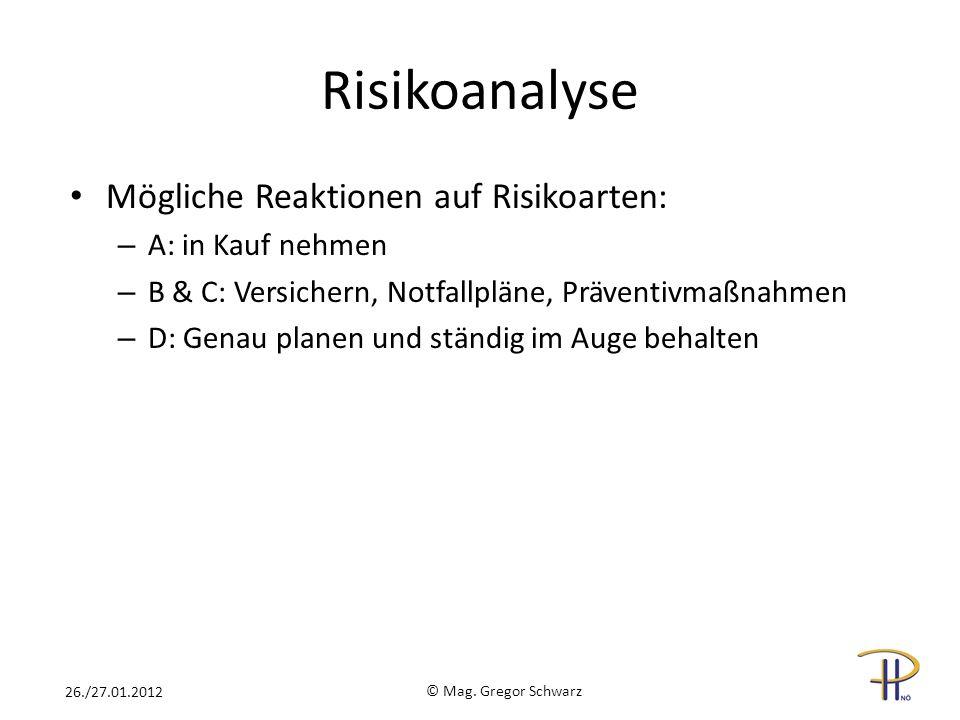 Risikoanalyse Mögliche Reaktionen auf Risikoarten: A: in Kauf nehmen