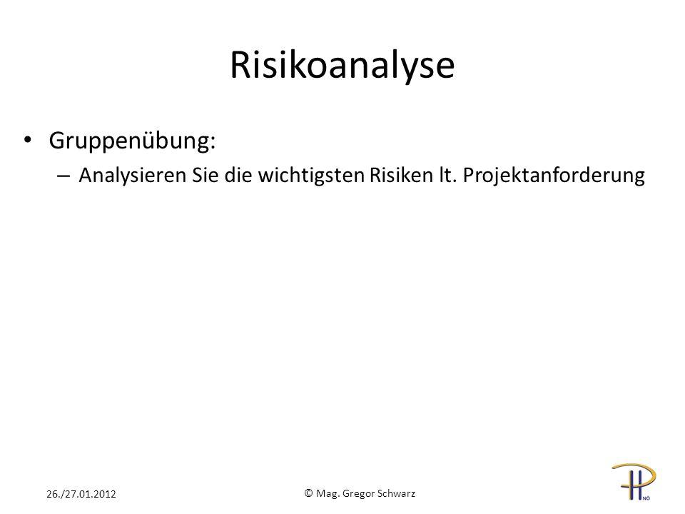 Risikoanalyse Gruppenübung: