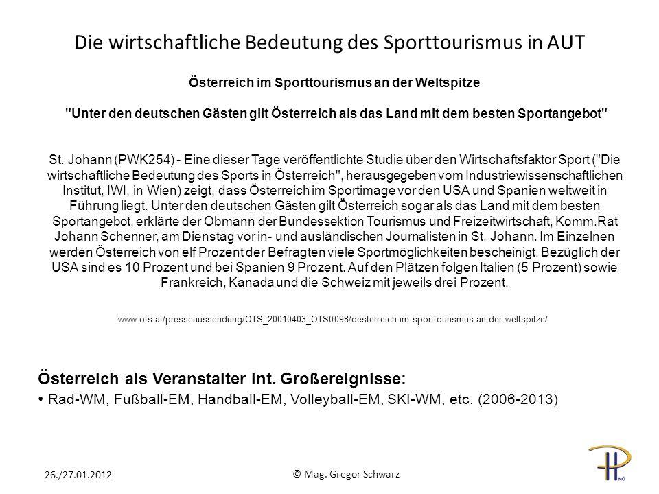 Die wirtschaftliche Bedeutung des Sporttourismus in AUT