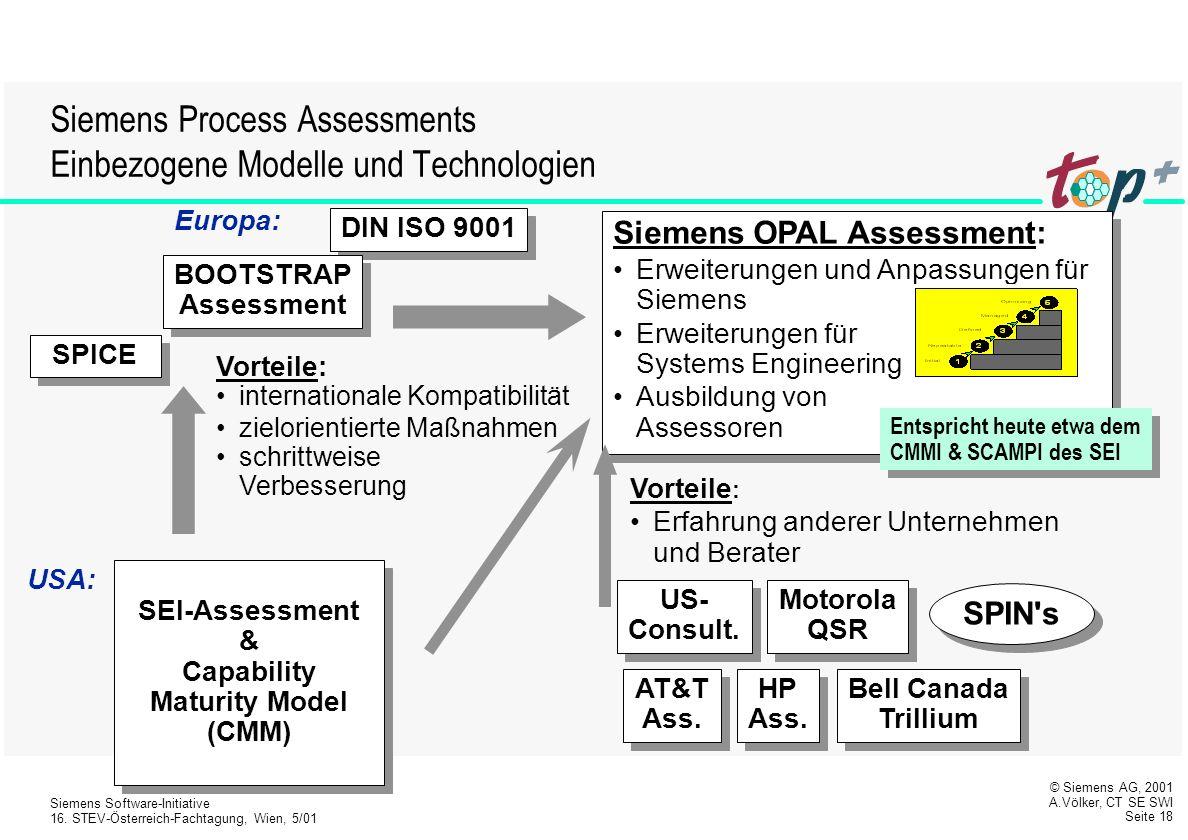 Siemens Process Assessments Einbezogene Modelle und Technologien