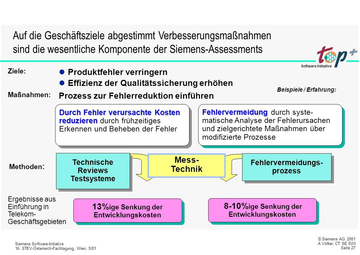 Auf die Geschäftsziele abgestimmt Verbesserungsmaßnahmen sind die wesentliche Komponente der Siemens-Assessments