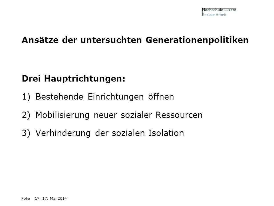 Ansätze der untersuchten Generationenpolitiken