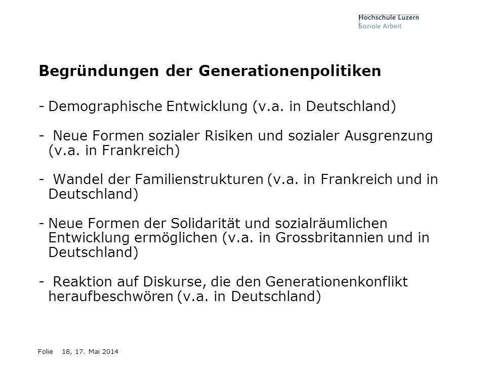 Begründungen der Generationenpolitiken