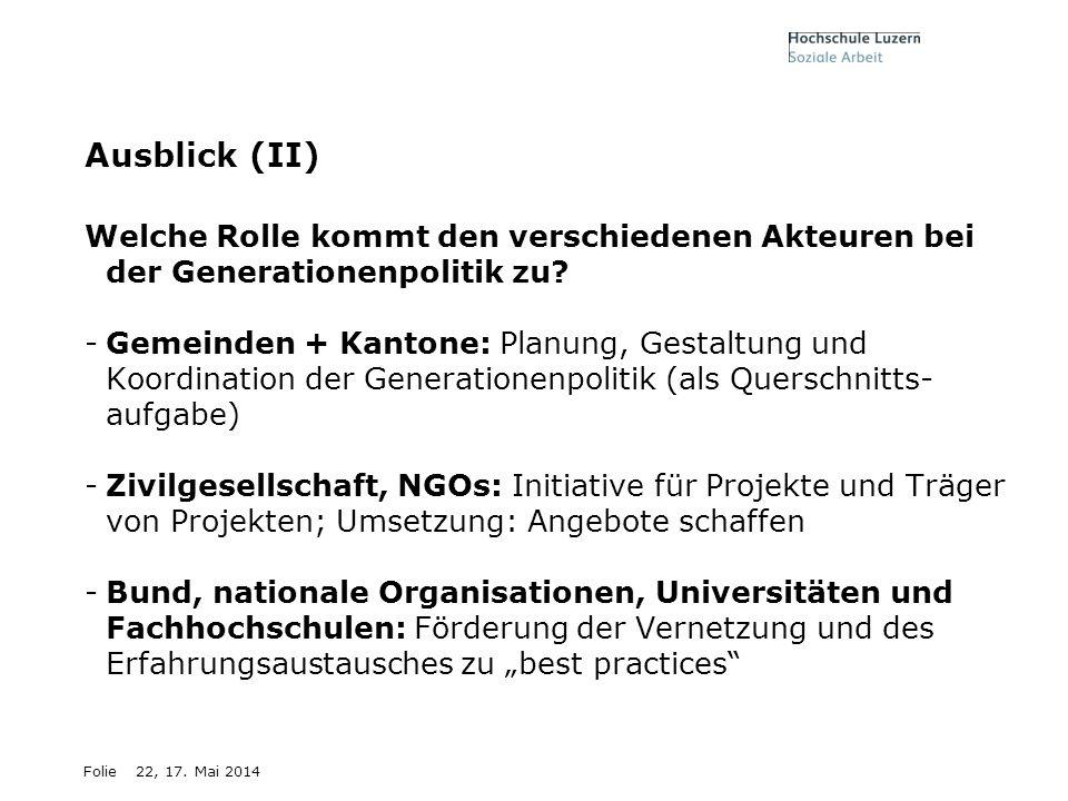 Ausblick (II) Welche Rolle kommt den verschiedenen Akteuren bei der Generationenpolitik zu