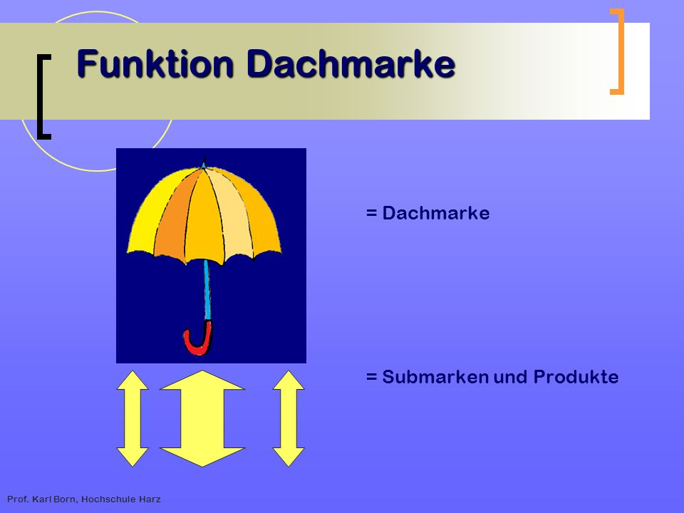 Funktion Dachmarke = Dachmarke = Submarken und Produkte