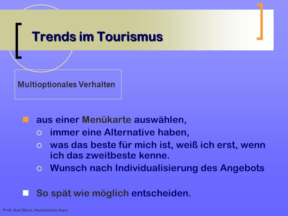Trends im Tourismus aus einer Menükarte auswählen,