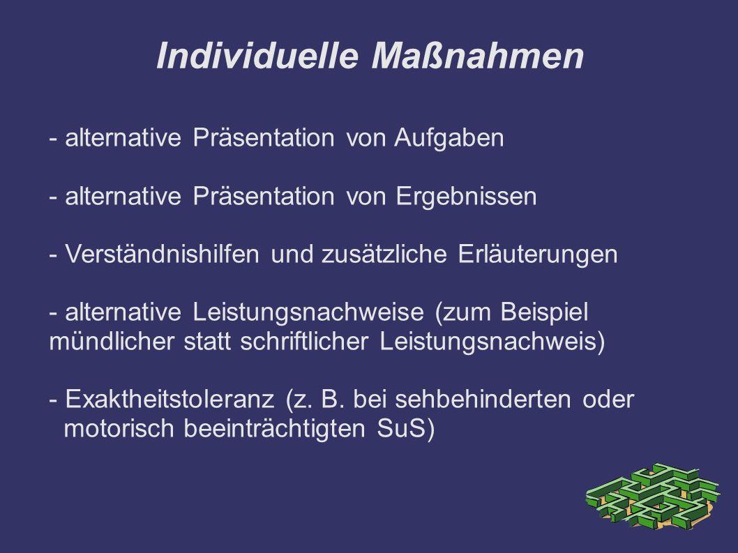 Individuelle Maßnahmen