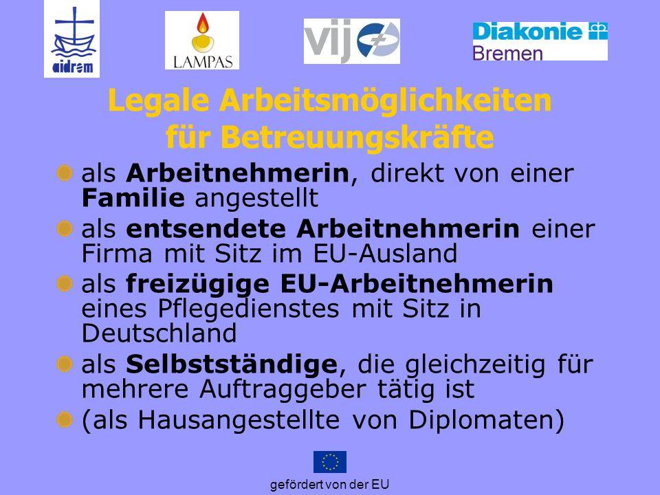 Legale Arbeitsmöglichkeiten für Betreuungskräfte