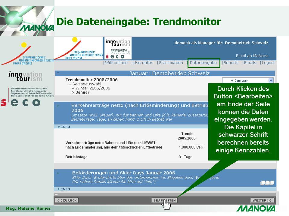 Die Dateneingabe: Trendmonitor