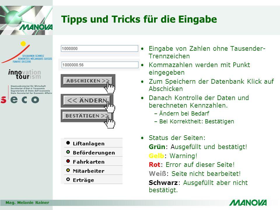 Tipps und Tricks für die Eingabe