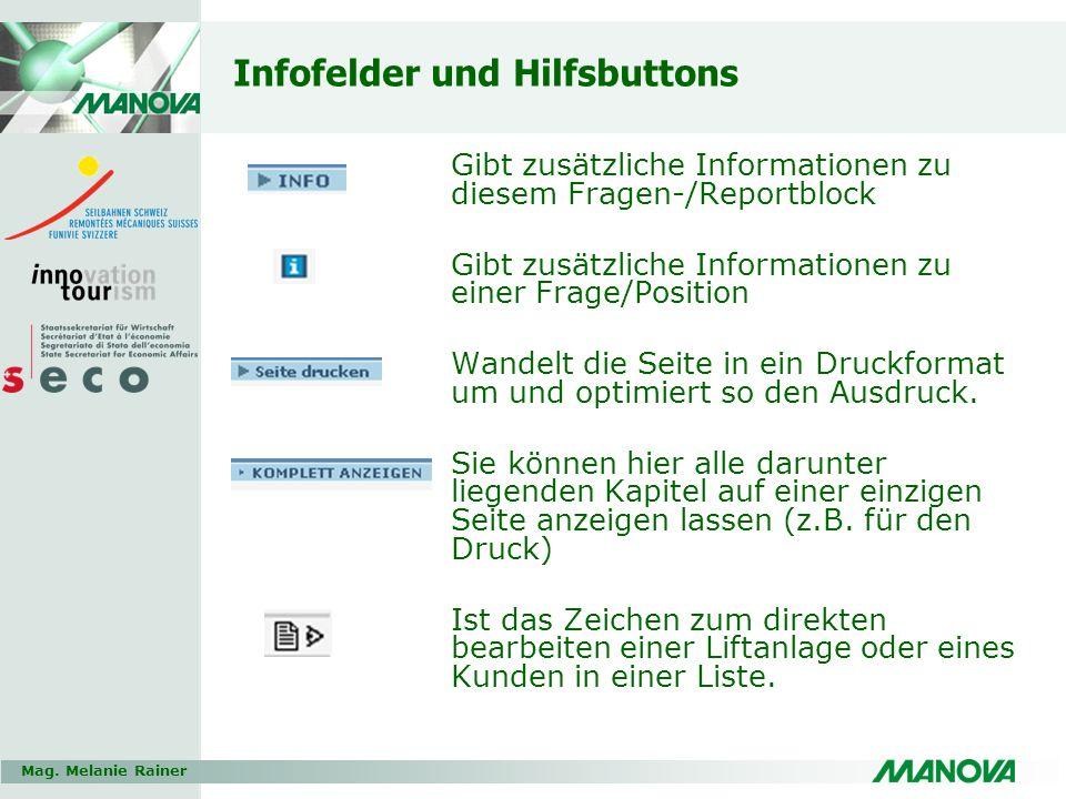 Infofelder und Hilfsbuttons