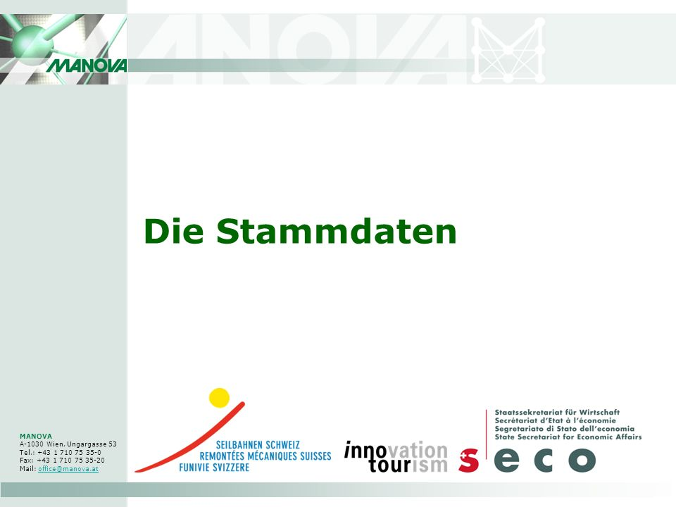 Die Stammdaten MANOVA A-1030 Wien, Ungargasse 53 Tel.: +43 1 710 75 35-0 Fax: +43 1 710 75 35-20 Mail: office@manova.at.