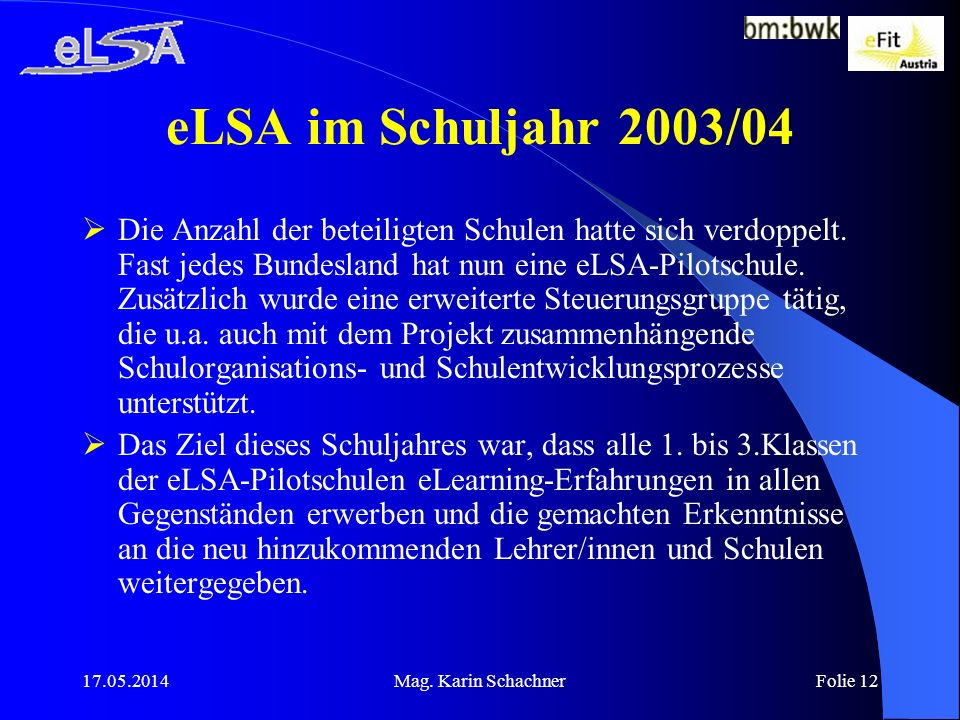 eLSA im Schuljahr 2003/04