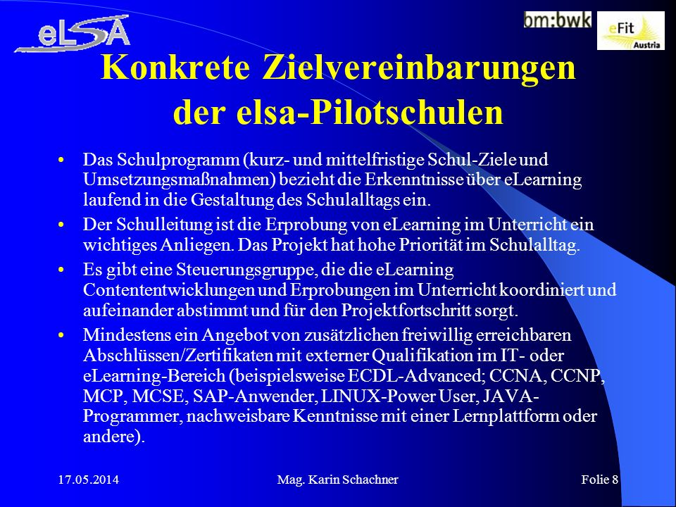 Konkrete Zielvereinbarungen der elsa-Pilotschulen